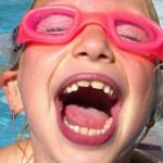 Girl in water goggles